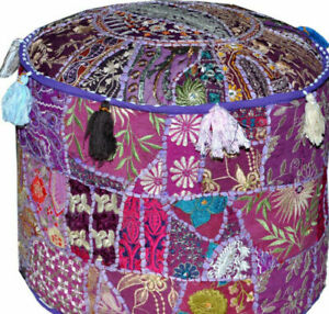 """Ethnic Patchwork Ottoman Pouffe Cover Round Stool Cotton 22"""" Embroidered Purple"""