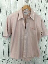 VTG Royal Knight Full Cut Dress Shirt Pink Plaid Short Sleeve Size 16 1/2 G1