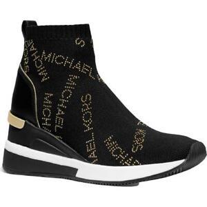 MICHAEL Michael Kors Womens Skyler Black Sock Sneakers 8.5 Medium (B,M) 4705