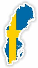 Sticker Silueta Suecia Mapa Bandera Para Parachoques Guitarra Patineta Locker Tablet
