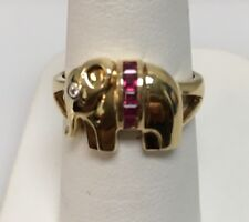 14k Yellow Gold Ruby Elephant Ring 5 Sq Rubies 19ct  Diamond .01ct Made In Italy