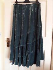 Laura Ashley silk velvet skirt, Teal, size 14, BNWT, Evening, fête, steampunk