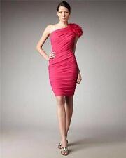$288 NWT Sz.4 Tadashi Shoji Pink One Shoulder Chiffon Sheath Rosette Dress
