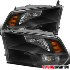2009-2017 Dodge Ram 1500/2500/3500 Black Clear Quad Lamps Headlights Left+Right