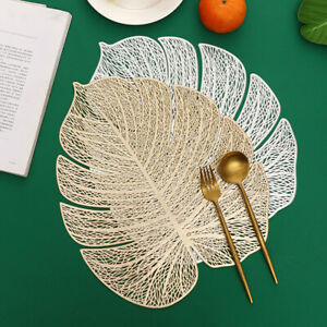 New Leaf Shape Dining Placemats Coaster Mats Non-Slip PVC Washable Cup Table Mat