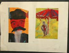Vintage expressionist watercolor painting portraits