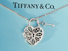 Tiffany & Co Sterling Silver Filigree Heart With Key 18 Inch Necklace