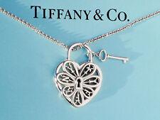 Tiffany & Co De Plata De Ley Filigrana Corazón Con Llave 18 in (approx. 45.72 cm) Collar