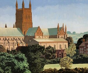 Worcester Cathedral Brian Cook print in 11 x 14 inch mount ready to frame SUPERB