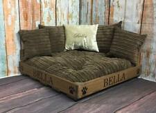 PERSONALISED WOOD CORNER CUBE PET BED WITH CRUSHED VELVET BED AND CUCHIONS