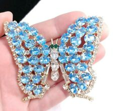 """(W) High End 3"""" Blue Clear Rhinestone Prong Set Butterfly Insect Bug Brooch Pin"""