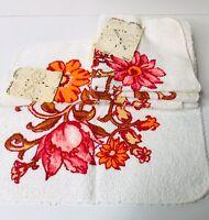 Vintage Lot 4 NOS Washcloths Pink Orange Floral Flowers