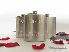 6oz Silver personalised  Hip Flask.wedding gift with box choice sf27