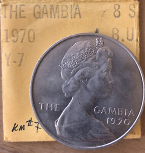 1975 Gambia 8 Shillings - Hippo- Gem Unc Crown & Nice  *No Reserve!