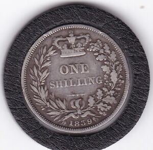 1839   Early   Queen   Victoria   Shilling  (1/-)  Silver  (92.5%)   Coin
