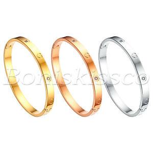 """Women's Zirconia Stainless Steel Bangle Bracelet Wristband Jewelry Size 7"""""""