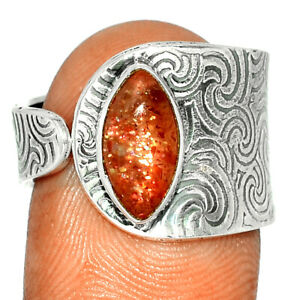 Natural Sunstone - Madagascar  Sterling Silver Ring XGB  s.8 BR78026 256H