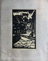 Woodcut 1930 Bratislava #1 Willi Ettrich - Expressive