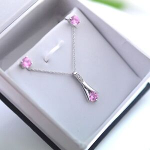 Pink Sapphire Solitaire Pendant Earrings Jewelry Set 14k White Gold Over 18Chain