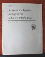 Structural & Igneous Geo La Sal Mountains UT Utah 1958 Geological Survey Geology