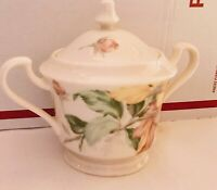 Oscar de la Renta English Tapestry Ivory Sugar Bowl With Lid EUC
