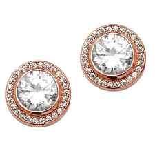 Genuine 925 Sterling Silver & Rose Gold Cubic Zirconia Halo Stud Earrings 11mm