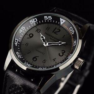 INFANTRY Mens Analog Quartz Wrist Watches Army Sport Military Black Leather