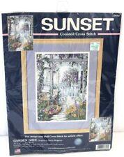 Sunset Counted Cross Stitch Garden Gate Sandy Bergeron Kit NEW SEALED 13692
