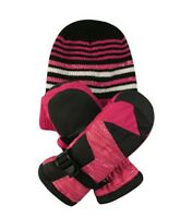Free Country Kids/' Hat and Mitten Set 3M Thinsulate Insulation Extra Warmth Rose