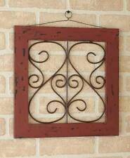 """Rustic Ivory Red Teal 14"""" Scrolled Metal Wall Decor Distressed Country Wood Art"""