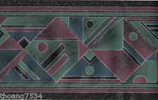 Blue Teal Purple Silver Geometric Triangle Diamond Modern Wall paper Border