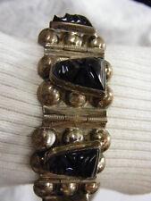 Vintage Mexico Silver 8 Link Bracelet Hand Carved Black Onyx Face Design 48 gram