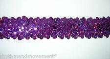 Dance Costume Elastic Sequin Trim - 3 rows stretch Purple Hologram Laser 1m
