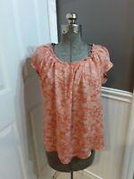 LC Lauren Conrad Women's Size M orange Floral Blouse Top ss GUC 🙂FAST SHIP 🙂