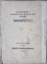 Deutz Radschlepper D 40 Teilnummernliste
