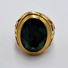 Stainless Steel Gold Size 11 c Men Ring Emerald Medieval Knight Templar Cross