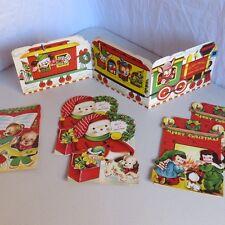 Lot of 6 Vintage Folding Standup Christmas Cards Unused Train Snowman Animals