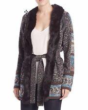 Haute Hippie Szl Fur Collar Wool Cardigan Coat W/stripe Leather Multi