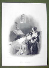 FRENCH LADY in Prison Bible Skull Crucifix - SUPERB Quality Print Engraving