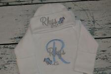 PERSONALIZED Monogram AIRPLANES Baby Sleeper Gown and Cap Outfit Newborn Set