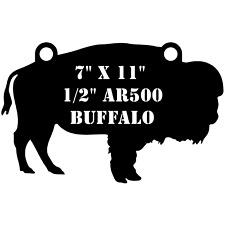 "One AR500 Buffalo Target 7"" x 11"" x 1/2"" Painted Black Shooting Practice Range"