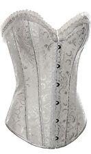 Womens Fashion Flower Tapestry Steel Boned Hook & Eye Corset & G-String White XL