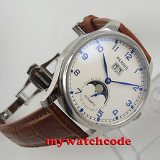 43mm parnis white dial deployment clasp date window automatic mens watch P194B