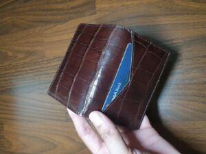 dark brown  doubleside GENUINE CROCODILE belly Leather Skin cardholder