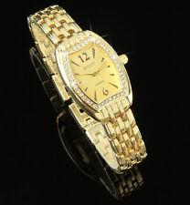 Luxus Damenuhr Gold Kristallen Edelstahl Damen Armbanduhr Watch UVP: 55€ U1487