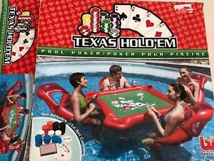 Swimming Pool Poker Texas Hold'em Pool Toy 4Chairs Table Water Proof Cards Chips