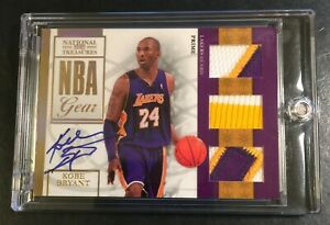 2010 KOBE BRYANT NATIONAL TREASURES NBA GEAR 3 PATCH COLOR AUTO 05/10