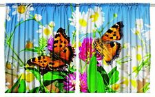 Butterflies Daisies Kitchen Curtain Set 2 Panels Dining Room Window Covering