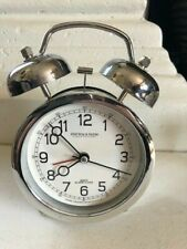 Retro Sterling & Noble, Chrome Alarm, Clock Double Twin Bell Silver Color- Works