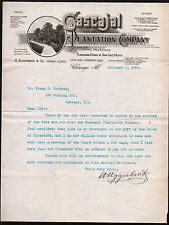 1905 Chicago Cascajal Plantation Co - A Aggerbeck Vera Cruz Mexico Letter Head